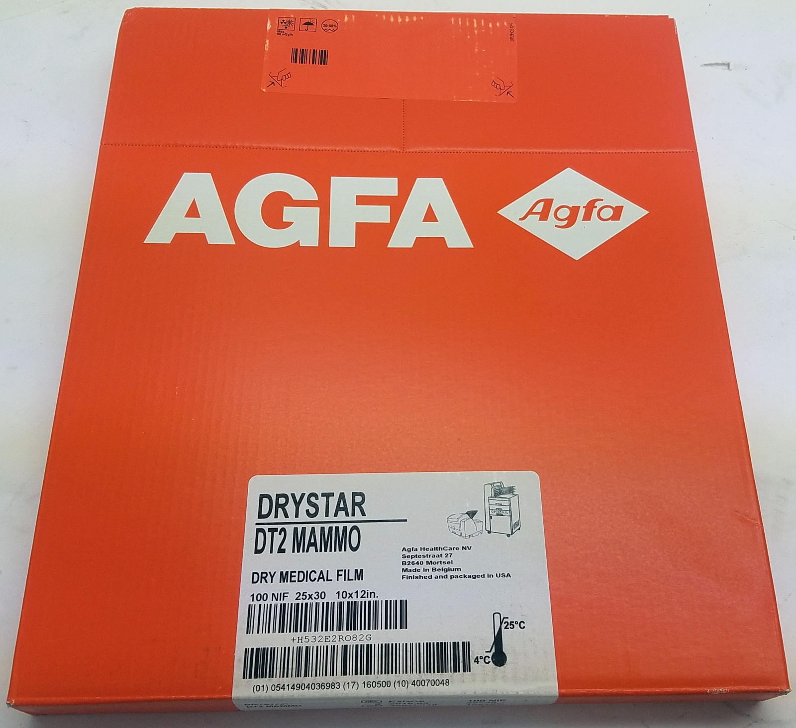 AGFA Drystar DT2 Mammo: 100 Sheet Dry Medical Film (10x12)