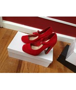 Mossimo Red Heels Ankle Strap Women's Textile Shoes Size 6M - $38.61