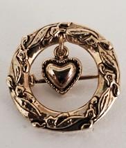Dangling Heart Wreath Brooch Gold Tone Vintage Pin Dainty Costume Jewelry - $12.99