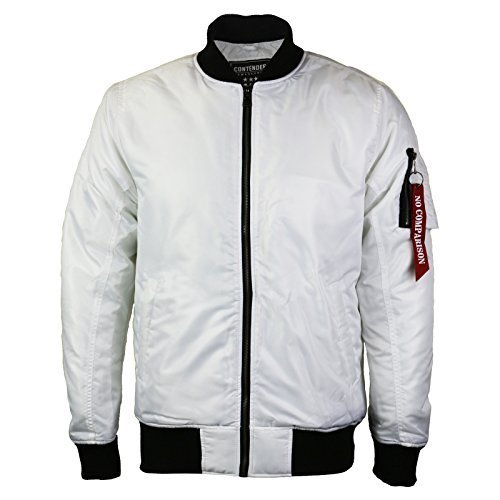 Contender Men's Water Resistant Zip Up Flight Bomber Jacket White (2XL)