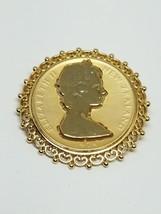 Vintage Brooch Dollar Replica Elizabeth II 1974 New Zealand Brooch Pin - $12.59