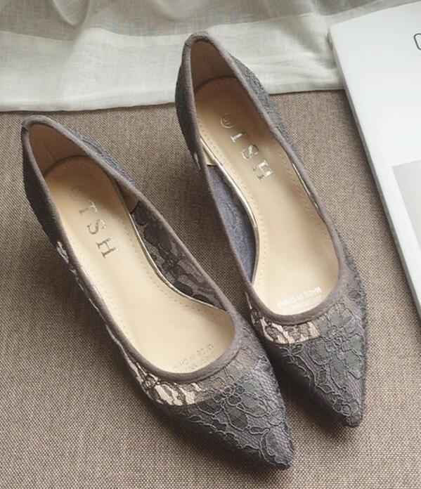 Low Heels Grey Lace Wedding Shoes,Gray Women Bridal Heels,Grey Evening Shoes image 3