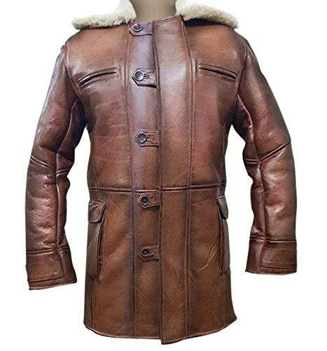 Bane Dark Knight Rises Tom Hardy Fur Shearling Brown Genuine Leather Trench Coat