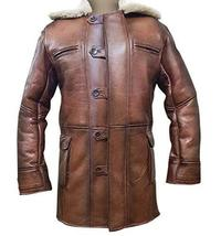 Bane Dark Knight Rises Tom Hardy Fur Shearling Brown Genuine Leather Trench Coat image 1