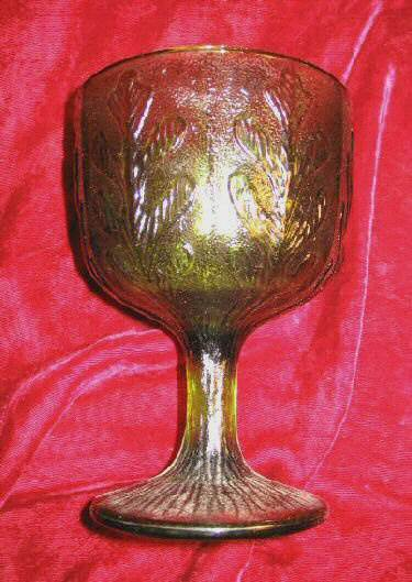 1975 FTD Footed Stemmed Green Depression Glass Bowl