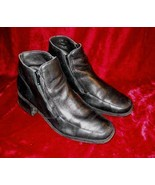 Apostrophe Black Leather Square Toes Ankle Boots Shoes 7.5 - $14.99