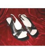 Ladys Apostrophe Black Leather Shoes Platform Heels 10 M 10M - $13.85