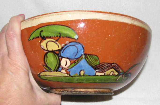 Vintage Mexican Redware Round Serving Bowl Folk Art