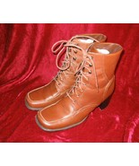 Newport News Brown Leather Boots Shoes 7.5 Square Toe - $29.99