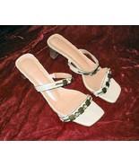 Vintage Cream Leather Brass Sandals Shoes Slides 10 M Brazil - $19.99