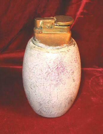Vintage Solid Marble Granite Stone Lighter Grenade Egg Shape