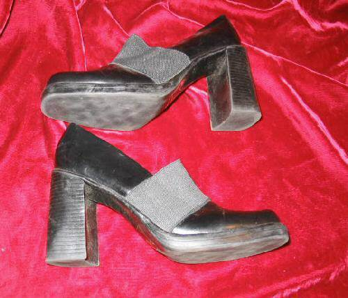 Womens Black Classified Vinyl Shoes Pumps Heels Size 6.5