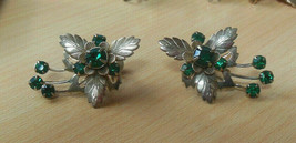 Vintage Stunning Gold-tone Green Faceted Prong Set Rhinestone Flower Ear... - $64.34