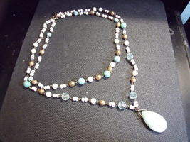 Pastel Beaded Necklace with stone pendant - $23.00