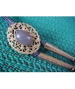 Old Gold Look Filigree Bolo Tie Grey Agate-Grey... - $9.00