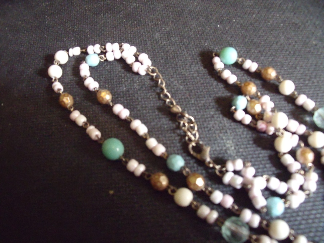 Pastel Beaded Necklace with stone pendant