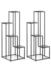 "2 MODERN FOUR TIER PLANT STANDS Black Square Geometric Design 39"" Tall - $130.89"