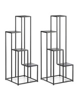 """2 MODERN FOUR TIER PLANT STANDS Black Square Geometric Design 39"""" Tall - $130.89"""