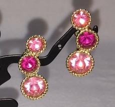 Clip On Earrings Pink Rhinestone Sarah Coventry Gold Tone Metal Pair Vintage - $14.84