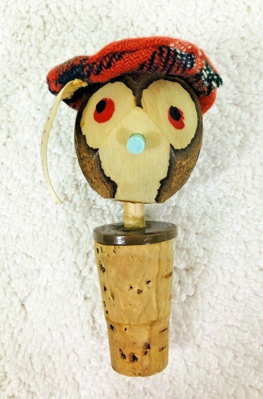 Primary image for Freco Scotland Wine Bottle Cork Topper Nut Tam o'Shanter Head Moves T82