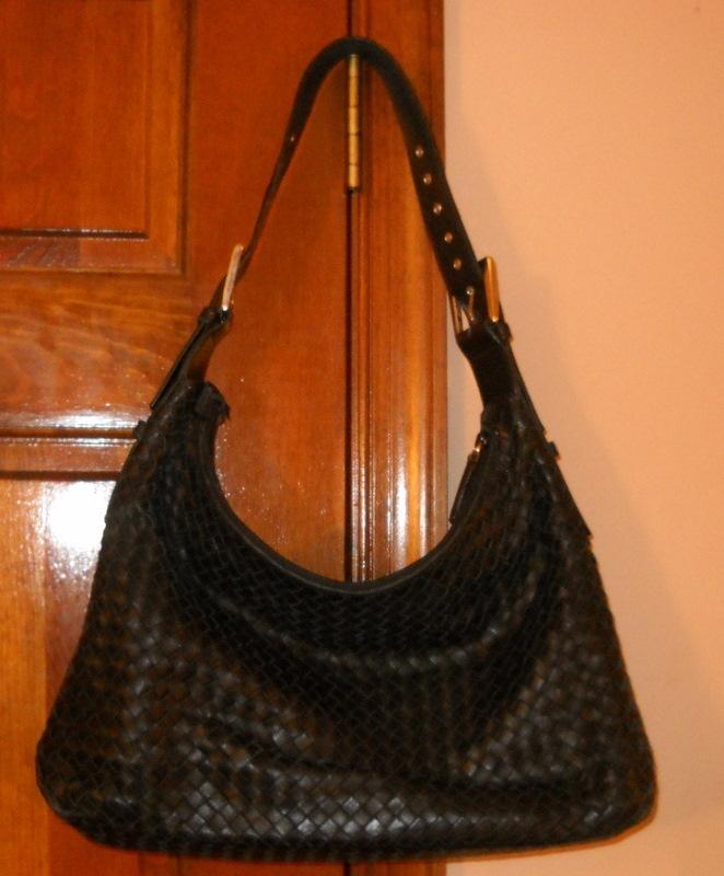 Designer Handbag Purse Cosci Italy Black Woven Leather