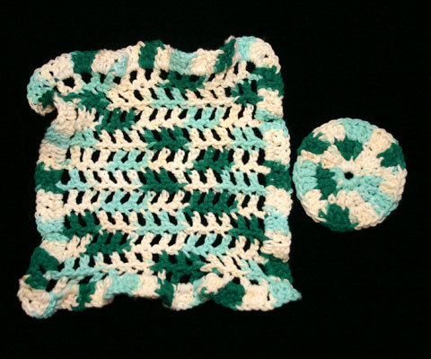 Variegated Green Handmade Crocheted Washcloth and Scrubby