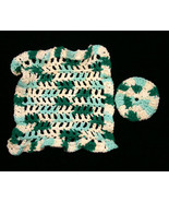Variegated Green Handmade Crocheted Washcloth and Scrubby - $12.00