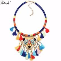 Ztech Women Bohemian Necklaces & Pendants Multicolor Statement Flower Ch... - $13.50