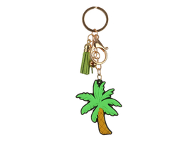 Palm Tree Tassel Faux Suede & Rubber Key Chain Handbag Charm - $9.95