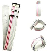 20mm X 255mm Nato Canvas Nylon wrist watch Band strap RED WHITE P2 - $10.42