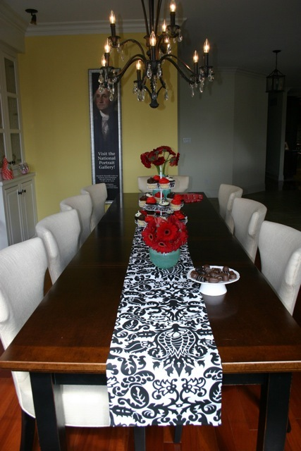 Wedding Black and White Damask Table Runner FREE SHIP