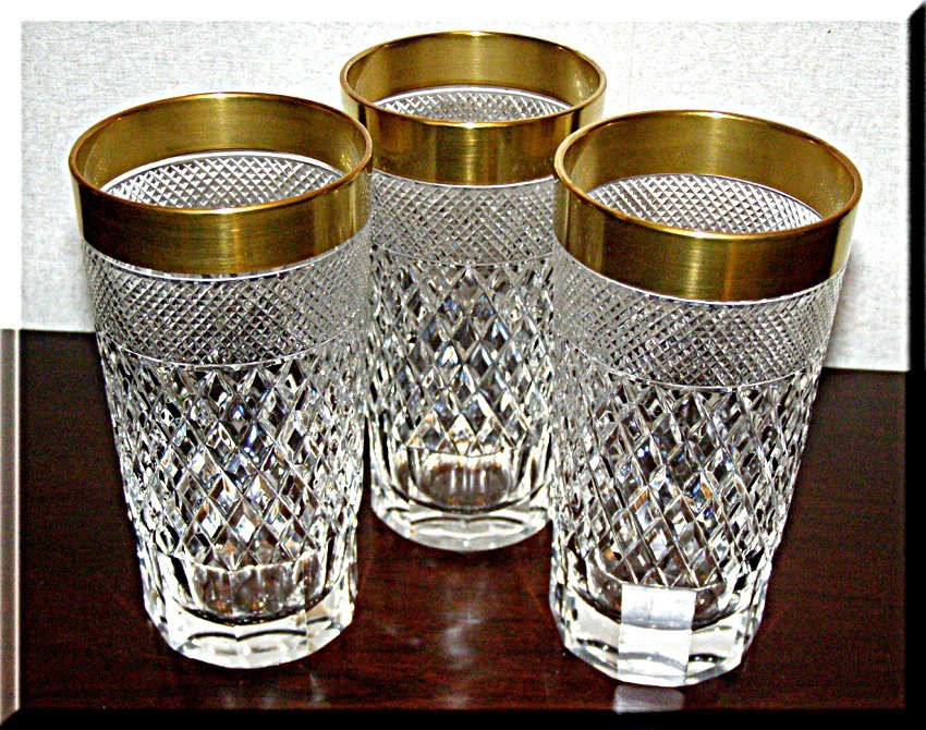Cut Glass Crystal highball free blown Diamond hand cut 24K Gold Rim 3 pcs