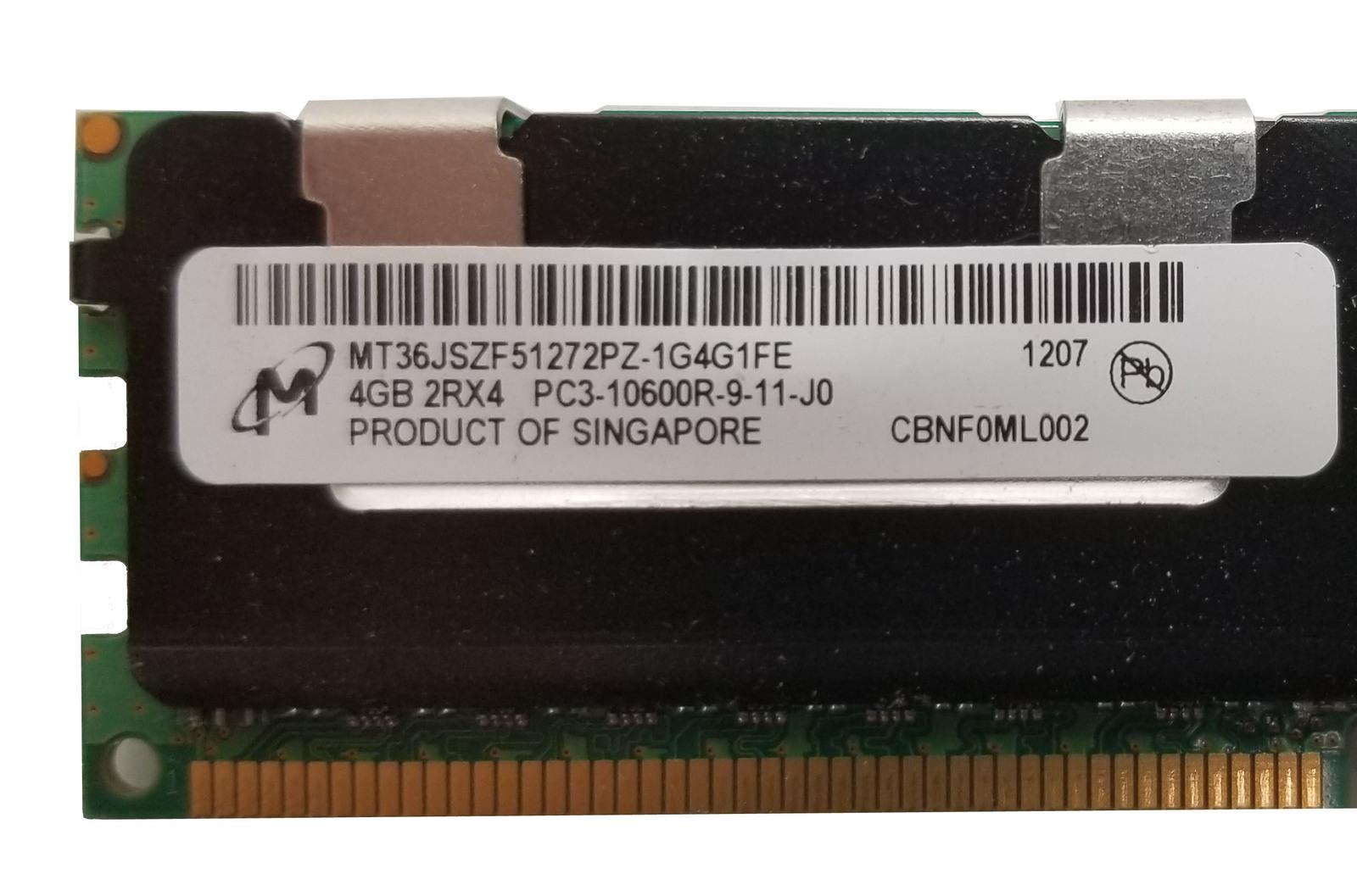 Micron 4GB 2RX4 PC3-10600R Server RAM (MT36JSZF5127PZ-1G4G1FE) Bin:7