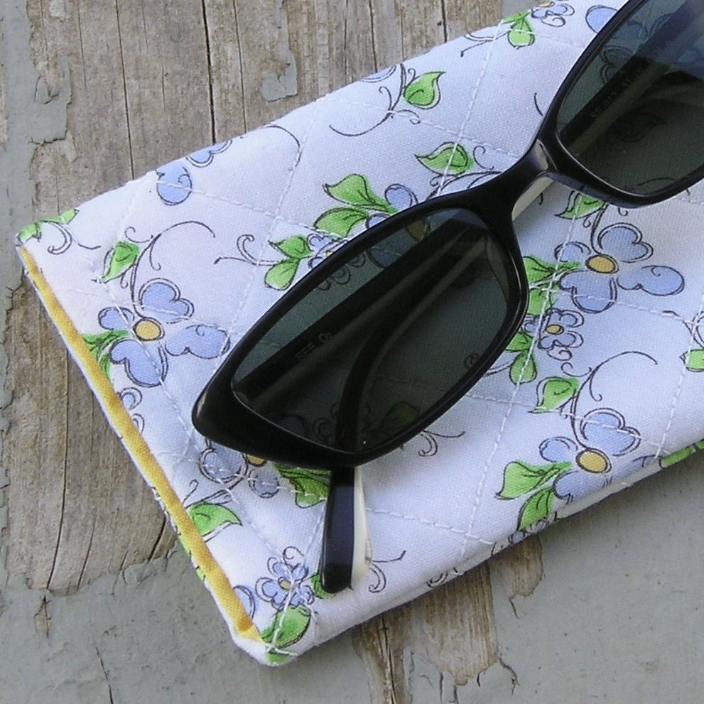 Handcrafted Floral Sunglass or Eyeglass Case Forget-Me-Nots