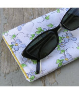 Handcrafted Floral Sunglass or Eyeglass Case Forget-Me-Nots - $7.50