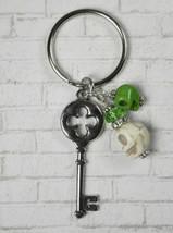 Skeleton Key Skull Crystal Beaded Handmade Keychain Split Key Ring Green... - $13.09