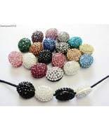 10Pcs Crystal Glass Rhinestones Pave Oval Bracelet Connector Charm Beads... - $4.36+