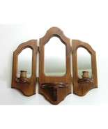 Vintage Wood Framed Wall Mirror, Candle Holder Sconce Wall Hanging Decor  - $49.00