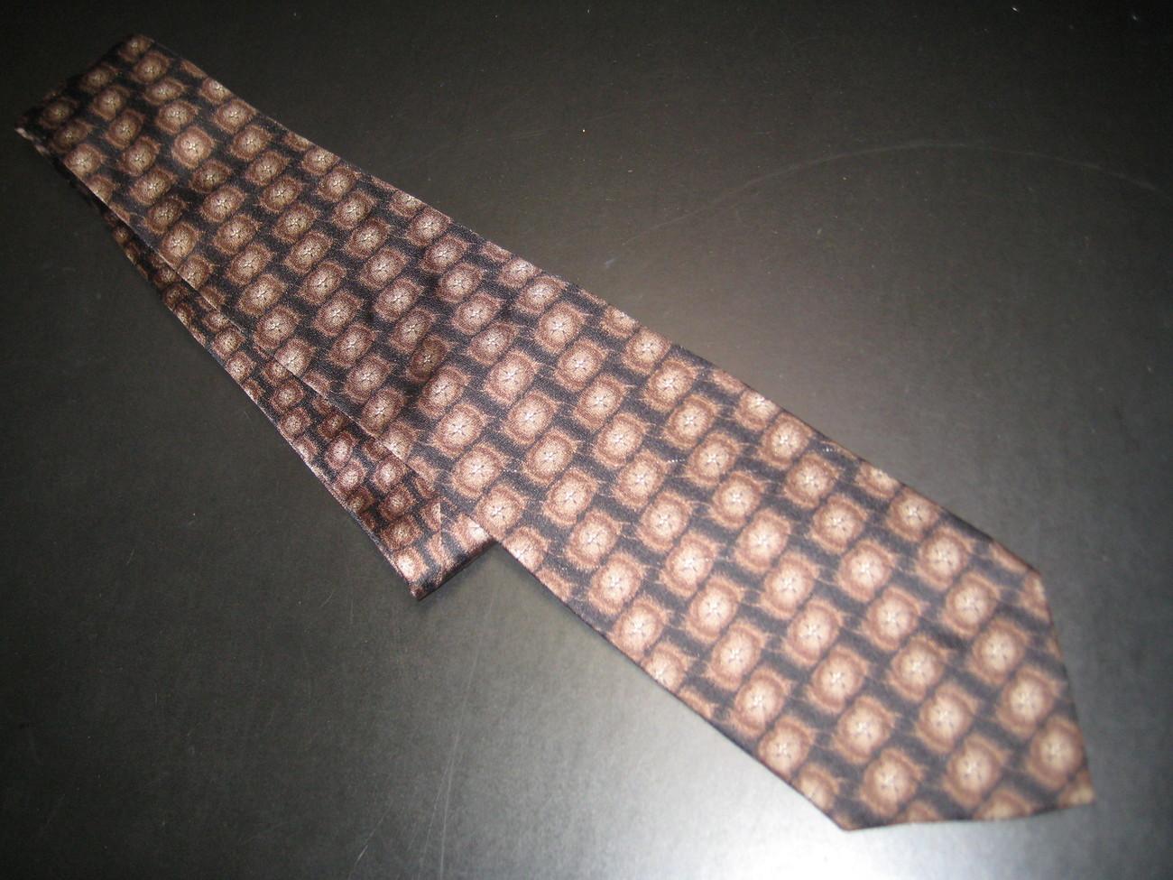 JZ Richards Dress Neck Tie Design No 9560-9 Bursts of Browns on Black Background