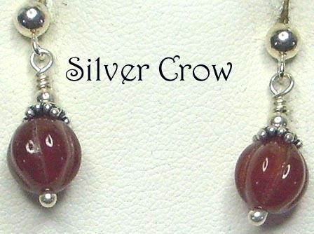 Fluted Carnelian Pumpkin Gemstone Beads with Sterling Silver Earrings