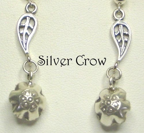 3237 sterling sliver leaf w bell earrings