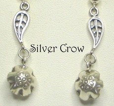 Sterling Silver Leaf with Hill Tribe Silver Bell Charm Earrings - $18.99