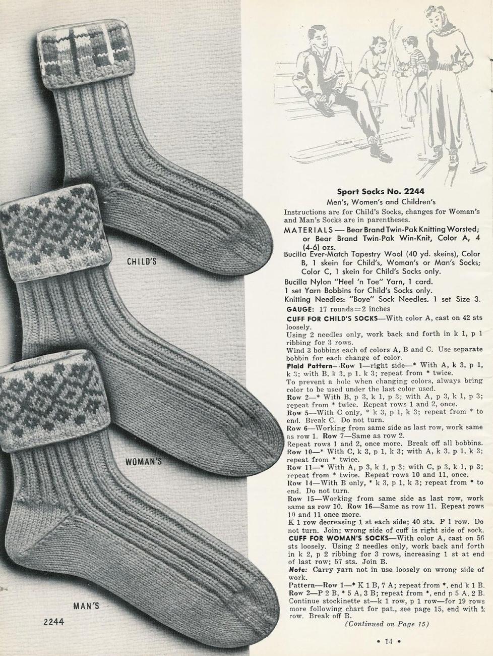 Irish Knitting Pattern Books : VINTAGE 50s BEAR BRAND HAND KNIT SOCKS ARGYLE CABLE IRISH ...