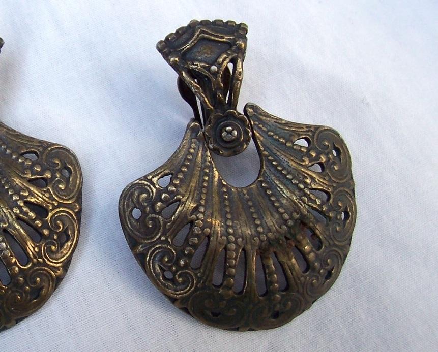 Victorian Bronze Floral Fan Doorknocker Earrings