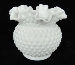 "Vintage Fenton White Milk Glass Hobnail Vase Double Crimped 5.5"" Rounded... - $29.69"