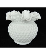 "Vintage Fenton White Milk Glass Hobnail Vase Double Crimped 5.5"" Rounded... - $29.69"