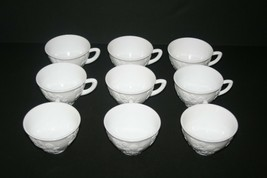 Vintage Milk Glass White Coffee Cups, Flowers Grapes Vines Pattern, Set ... - $41.73