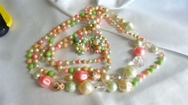 Vintage Set of Pastel Beads and Clip Earrings - $59.00