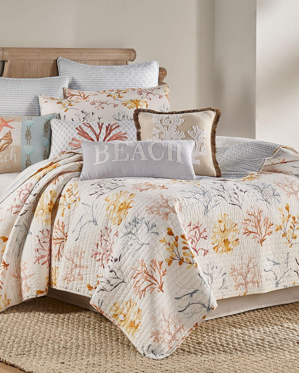 Luxury Bedding Soft Cozy White Blue Coral Yellow Coastal ...
