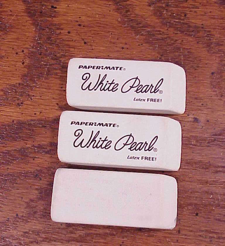 Lot of 3 White Erasers, 2 are Papermate Pearl